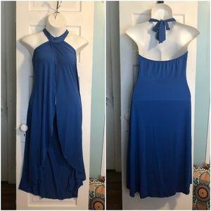 Blue Open Front Halter Neck Swim Coverup Dress 1X